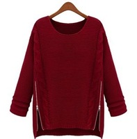 2013 winter brand designer batwing sleeve thick loose sweater with zipper o-neck wool knitting sweater pullovers