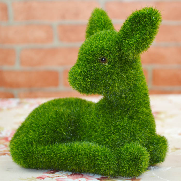 Moss figurine artificial grass turf ornaments deer 18 16cm for Artificial grass decoration