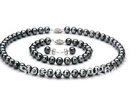 $wholesale_jewelry_wig$ Free Shipping charming sets of tahitian10-11mm black green pearl necklace earring and bracelet