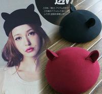 Hat female style fedoras women's fashion cat ear woolen hat    whole sale also
