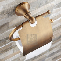 European luxury Antique Brass Wall-mounted Toilet roll holder toilet paper dispenser with lib bathroom accessories