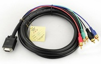 2013NEW, VGA SVGA HD15 to 5 RGB RCA component Cable HDTV LCD 5FT/1.5M,Free shipping