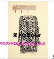 Gold line vintage decorative pattern baroque gorgeous long-sleeve sweater one-piece dress