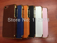 500pcs Free Shipping For iPhone 5C Deluxe Chrome Leather Fashion Luxury Hard Case Cover