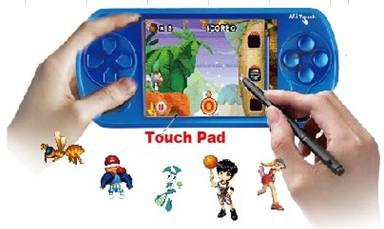 High resolution 2.7 inches wide touch LCD 32 Bits Portable LCD Game Console total 132 games BS-127 Free shipping(China (Mainland))