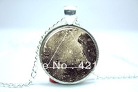 10pcs/lot Galaxy Triangle Necklace, Hipster Nebula Jewelry, Geometric Star Pendant Glass Cabochon Necklace 1