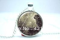 10pcs/lot Galaxy Triangle Necklace, Hipster Nebula Jewelry, Geometric Star Pendant Glass Cabochon Necklace 1