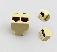 HOT-Wholesale- 20pieces/lot, CAT5 RJ45 1 TO 2 Network Splitter Cable Extender Plug Coupler, Free shipping