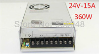 Free shipping Switching power suply 24v - 15A - 360w certified Driver For LED Strip Light Display 220v dc power adapter