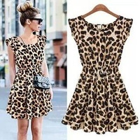 Free shipping 2014 summer new European and American fashion casual sleeveless round neck leopard was thin waist dress