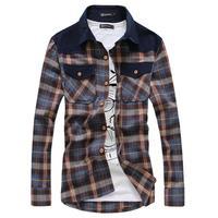 Sing breasted shirt for men long sleeve cardigan plaid shirt 235