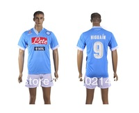 Hot sell 13/14 thai quality napoli home blue 9# Higuain soccer football jersey+shorts, Serie A patch, size:S/M/L/XL
