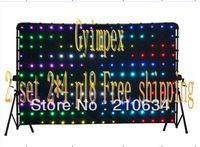 Free shipping 2 set P18 2m*4m led curtain video +software+ controller