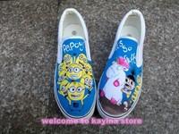brand sneakers cartoon anime figure despicable me 2 minion shoes Couples hand painted shoe women and men casul canvas shoes
