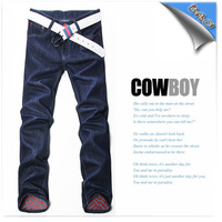 Free shipping new men jeans flanging design cowboy trousers fashion leisure men's trousers