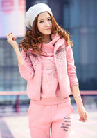 2013 fleece thickening hoodies clothing sport hoodies suit women for winter 3pcs in 1 set free shipping 4 colors M L XL