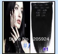 "Free new fashion 20"" 22"" 24"" 26"" Full Head Remy Clip in Human cheap hair extension 10PCS 120g/set #1 black"
