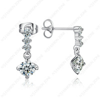 Stylish Shining Austria Crystal Studs 18K White Gold Plated Unique Dangle Earrings E094W1
