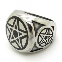 Best Price Jewelry New Gift, Gothic 316L Stainless Steel Charm Star Stars Ring Punk Mens Silver Size 8~13 New Arrival