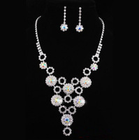 White crystal pendant necklace high-grade noble women wedding jewelry set/earrings with free shipping