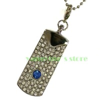 Silver Point Metal Gem Crystal Pendant 2GB 4GB 8GB 16GB 32GB USB 2.0 Flash Drive+Necklace