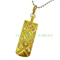 Hot Sale Gold  Point Metal Gem Crystal Pendant 2GB 4GB 8GB 16GB 32GB USB 2.0 Flash Drive+Necklace
