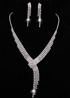 Rhinestone necklace/earring fake imitation diamond tie style female wedding jewelry set  free shipping