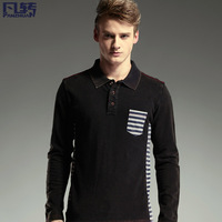 Fashion Designer Spring male turn-down collar slim personalized long-sleeve polo shirt 3019 water wash