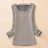 Autumn and winter plus velvet thickening women's basic shirt slim long sleeve length basic t-shirt shirt female