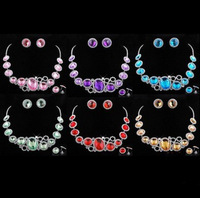 New 2013 Color crystal necklace/earring round style women jewelry, wedding banquet  free shipping
