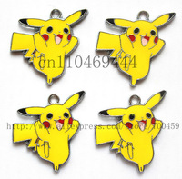 Gift ! Hot ! New 50Pcs Pikachu Metal Charms pendants DIY Jewellery Making crafts