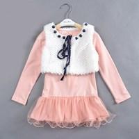 Free shipping 5pcs/lot Suit for 4-8 years  High quality  (2pcs sets girls) petti dress baby dress princess fall dress