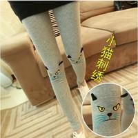 Embroidery kitten women's legging trousers autumn and winter autumn pencil pants