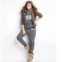 Womens Fashion Trends New Elegant Sports Hoodies Coat+Vest+Pants 3pcs Sweat Suit Tracksuit 53514