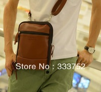 NEW men bag casual style waist pack PU leather travel bag small messenger bag one shoulder mobile bags for mens