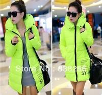 2013 Winter Women's Down Coat Hooded Fashion Letter Elegant Medium-long Plus Velvet Thickening Slim Down parka Jacket 6Colors