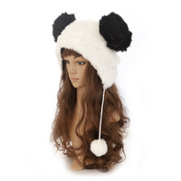 Outdoor thermal long-haired rabbit fur hat winter non-mainstream personality panda head winter hat Women