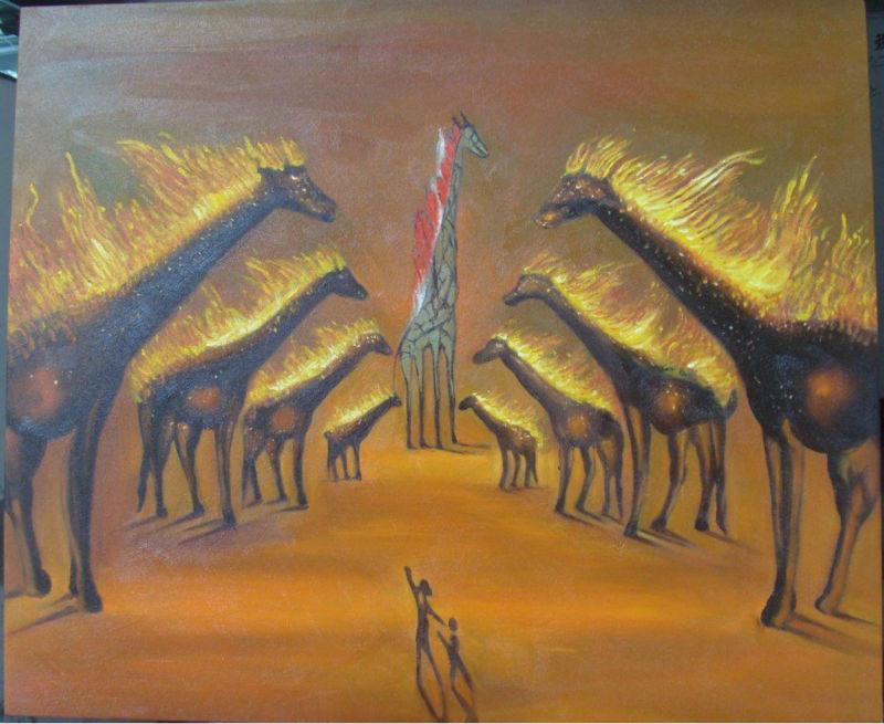gratis verzending voor wanddecoratie in bruine brandende giraffen door ...