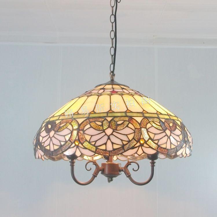 45CM European Tiffany chandelier living room coffee table retro nostalgia wholesale decorative glass lamp shop(China (Mainland))