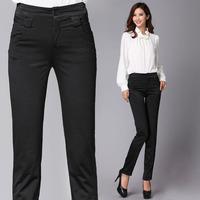 Mid waist elastic Women slim nylon plus size casual trousers pencil long trousers