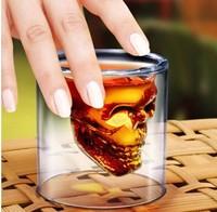 Wholesale 2 pcs/lot Doomed Crystal Skull Shot Glass/Crystal Skull Head Vodka Shot Wine Glass Novelty Cup