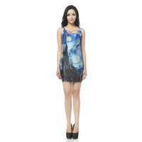 BLACK MILK fashion women'sSTARRY NIGHT DRESS Van Gogh works Slim stretch vest, skirt package hip dress short paragraph TQ017free