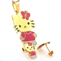 Womens Girls Hello Kitty Colorful Enamel 18K Gold Plated Stainless Steel Pendant Necklace & Earrings Jewelry Sets Wholesale