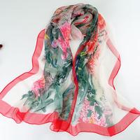 Scarf silk scarf long design women's print chiffon silk scarf