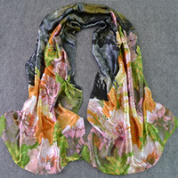 Scarf autumn and winter faux silk scarf long design mulberry silk oil painting women's scarf silk scarf
