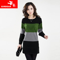 Autumn women's medium-long sweater dress fashion slim sweater one-piece dress