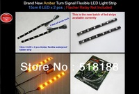 Brand New Amber Turn Signal Flexible LED Light Strip 15cm 6 LED x 2 pcs ; Flasher Relay Not Included
