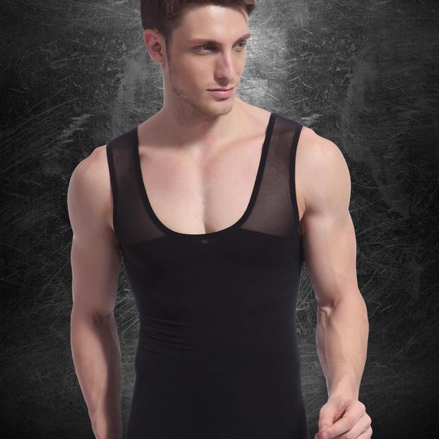 Mens Bodysuit Shirt Men Slimming Waist Bodysuit