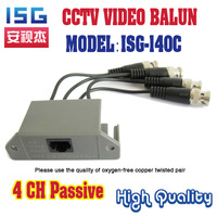 Free shipping 4 Channel Twisted Pair Transmitter CCTV Video Balun passive UTP Balun BNC Cat5 up to 3000ft Range