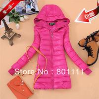 Free Shipping 2013 Candy Color Fashion Slim Cotton-Padded Jacket Medium-Long Jacket  Long Design Thickening Cotton-Padded Jacket